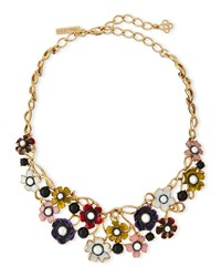 Oscar De La Renta Pearly Enamel Flower Statement Necklace Multi Multi Colors