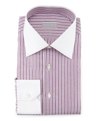 Stefano Ricci Contrast Collar Striped Dress Shirt Mauve