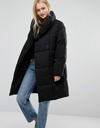 Monki Oversized Padded Coat Black