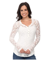 Ariat Lawton Lace Henley Whisper White Women's Long Sleeve Pullover