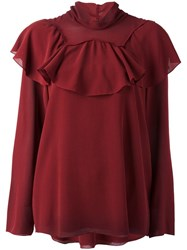 Chloe Flounce Collar Blouse Red