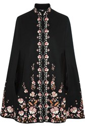 Vilshenko Embroidered Wool Blend Cape Black