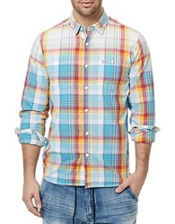 Buffalo David Bitton Surf Sijax Long Sleeve Plaid Shirt Blue