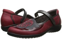 Naot Footwear Motu Ruby Leather Brushed Black Leather Beet Red Patent Leather Women's Flat Shoes Brown