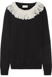 Saint Laurent Ruffled Lace Trimmed Cashmere Sweater Black