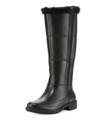 Taryn Rose Abbott Mid Calf Boot With Faux Fur Trim Black