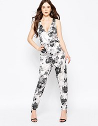 Girls On Film Floral Jumpsuit With Lace Back White