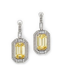 Judith Ripka Baguette Wrap Emerald Cut Drop Earrings With Rock Crystal Quartz And Canary Crystal Yellow Silver