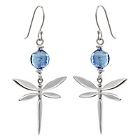 Martick Murano Glass Dragonfly Drop Earrings Silver Blue