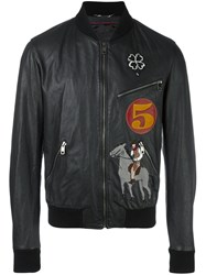 Dolce And Gabbana Patched Bomber Jacket Black