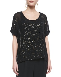 Eileen Fisher Sequined Chiffon Boxy Top Black