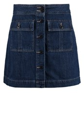 Gap Trapunto Denim Skirt Dark Indigo Dark Blue