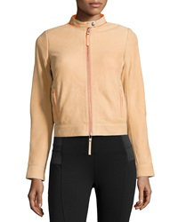 L.A.M.B. Leather Contrast Trim Jacket Sand