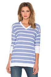 Vince Stripe Block Slim Fit V Neck Sweater Blue
