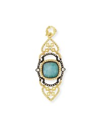 Armenta Old World Malachite Rainbow Moonstone Scroll Pendant Gold