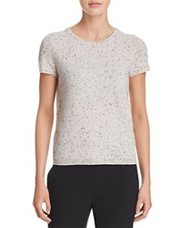 Bloomingdale's C By Short Sleeve Cashmere Sweater Light Grey Donegal