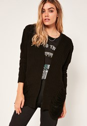 Missguided Distressed Slouchy Cardigan Black