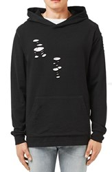 Topman Men's Laddered Ripped Oversize Hoodie