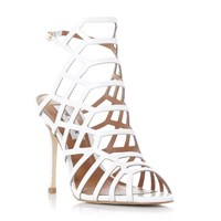 Steve Madden Slither Caged High Heel Sandals White