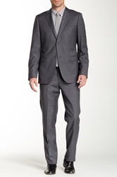 Zanetti Grey Solid Serge Two Button Notch Lapel Classic Fit Wool Suit Gray