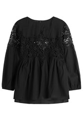 Velvet Cotton Blend Blouse With Lace Black