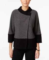 Jm Collection Petite Colorblocked Wool Jacket Only At Macy's Charcoal Heather