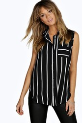 Boohoo Striped Sleeveless Woven Shirt Black
