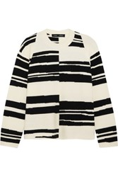 Proenza Schouler Striped Stretch Wool Blend Sweater White