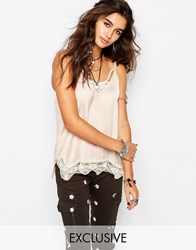 Native Rose Cami Top With Lace Detail Flamingo Nud