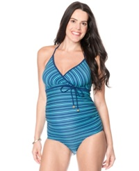 Motherhood Maternity Halter Striped One Piece Swimsuit