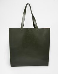 Asos Tote Bag With Contrast Internal Green