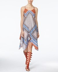 American Rag Printed Handkerchief Hem Midi Dress Only At Macy's Blue Combo