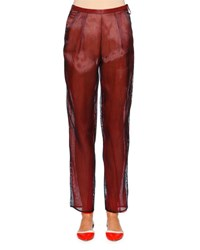 Giorgio Armani Slim Leg Ankle Pants Navy Red