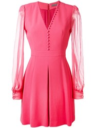 Alexander Mcqueen Buttoned V Neck Dress Pink And Purple