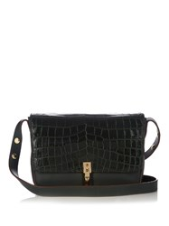 Elizabeth And James Cynnie Crocodile Effect Leather Shoulder Bag Dark Green