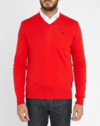 Red Hackett Logo Pima Cotton V Neck Sweater