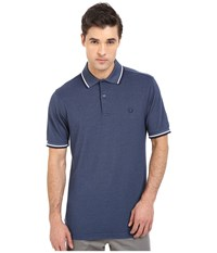 Twin Tipped Fred Perry Polo Lake Oxford White Carbon Blue Men's Short Sleeve Pullover