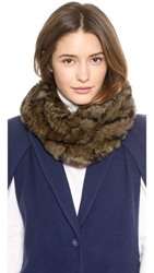 Jocelyn Dye Rex Rabbit Fur Infinity Scarf Green Camo