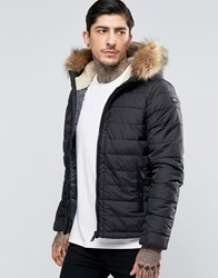 Schott Quilted Padded Hooded Jacket Detachable Faux Fur Trim Black