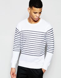 Pull And Bear Pullandbear Striped Sweatshirt In White And Navy White