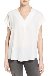 Pleione Petite Women's High Low V Neck Mixed Media Top Ivory Cloud