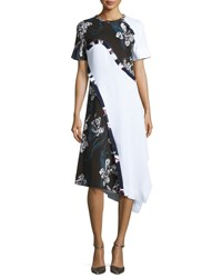Cedric Charlier Short Sleeve Asymmetric Floral Print Dress White