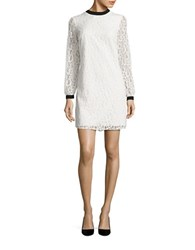 Cece Long Sleeve Mock Neck Scroll Lace Shift Mini Dress Light Cream
