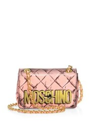 Moschino Fantasy Small Printed Patent Leather Crossbody Bag Pink