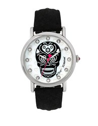 Betsey Johnson Silvertone Skull Motif Dial And Black Leather Strap Watch