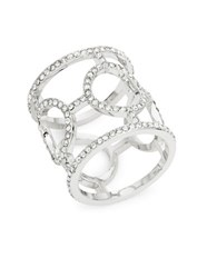 Michela Pave Circle Cocktail Ring Silver