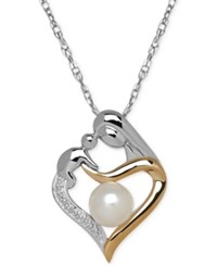 Macy's Cultured Freshwater Pearl 6 1 2Mm And Diamond Accent Mother And Child Pendant Necklace In Sterling Silver And 14K Gold