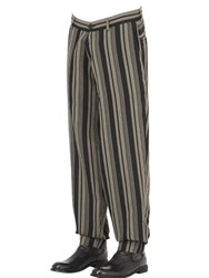 Isabel Benenato Striped Cool Wool Blend Sarouel Pants