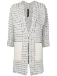 Ilaria Nistri Thick Rib Knit Cardigan Grey