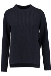 Proenza Schouler Ribbed Wool And Cashmere Blend Sweater Navy